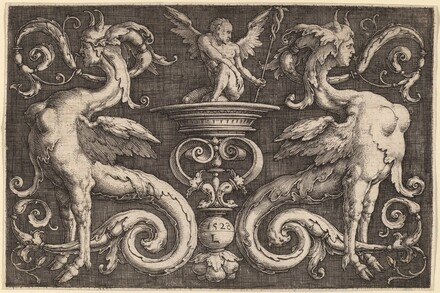 Ornament with Two Sphinxes and a Winged Man