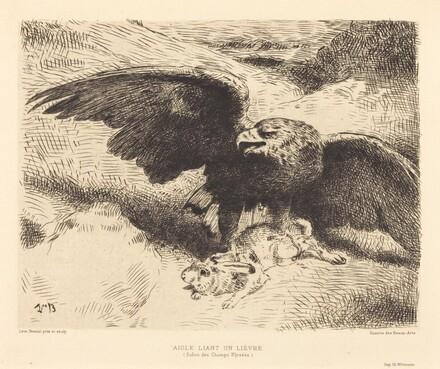 Aigle Liant un Lièvre (An Eagle Pouncing on a Hare)