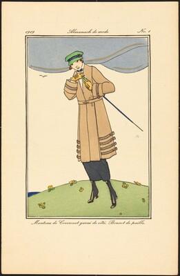 Manteau de Covercoat garni de côté. Bonnet de paille.