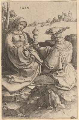 A Nobleman and a Lady Seated in a Landscape