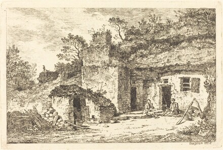 A Cottage with Two Men Seated at the Doorway