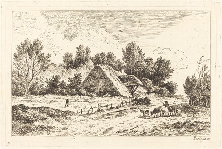 A Low Cottage with a Herdsman Leading His Flock