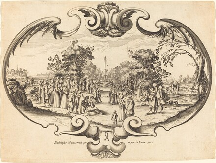 Design for a Fan: Courtly Figures in a Landscape