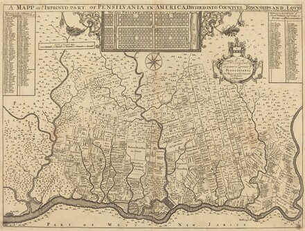 A mapp of ye improved part of Pensilvania in America, divided into countyes, townships and lotts