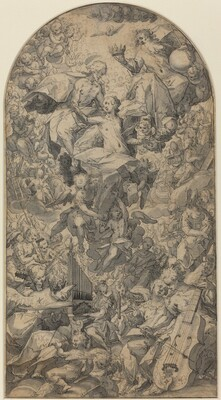The Coronation of the Virgin with Angel Musicians and All Saints