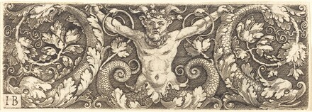 Ornament with Fantastic Satyr and Dolphins