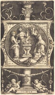 Emblem with Hope, Tribulation, Envy, and Tolerance