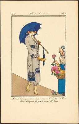 Robe de lainage, couleur taupe avec de la broderie de laine bleue. Chapeau de paille garni de fleurs.