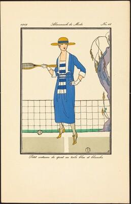 Petit costume de sport en toile bleu et blanche