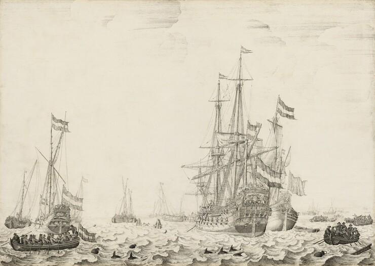 Dutch Ships near the Coast