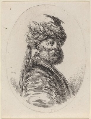 Bearded Moor in a Feathered Turban with a Veil, Turned to the Right