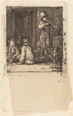 Interior with Three Boys and a Dog