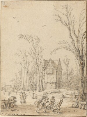 Villagers Skating on a Frozen Pond