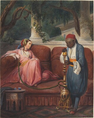 Oriental Woman with a Waterpipe