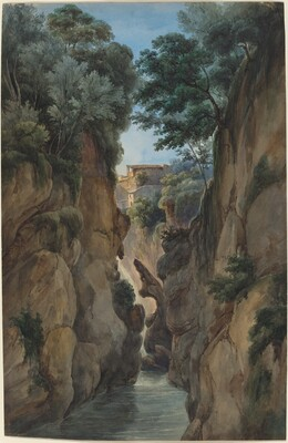 View of a Waterfall through a Ravine