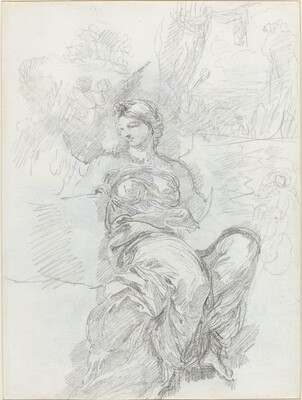 Seated Angel in a Landscape [recto]