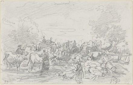 Herds Crossing a Stream