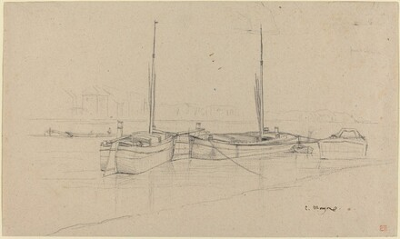 Boats on River with Masts