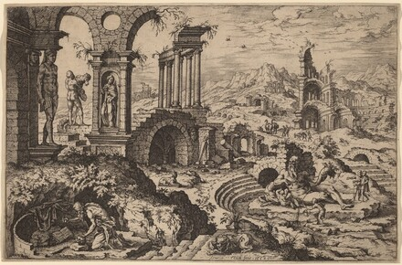 Saint Jerome in a Landscape with Ruins