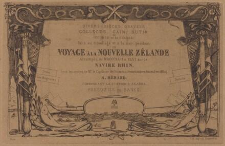 Couverture du Voyage à la nouvelle Zélande (Cover for the Set of Etchings Entitled A Voyage to New Zealand)