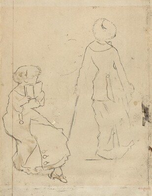 Study for Mary Cassatt at the Louvre: The Etruscan Gallery [verso]