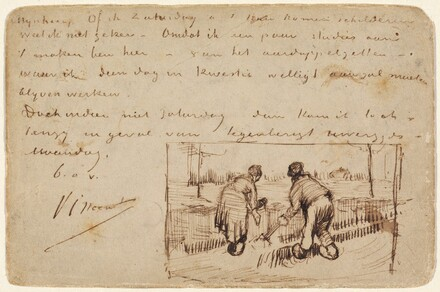 Postcard with Two Peasants Digging