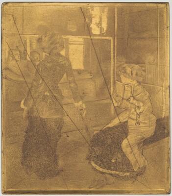 Mary Cassatt at the Louvre: The Etruscan Gallery  [copper plate]