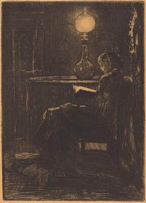 Liseuse à la Lampe (Woman Reading by Lamplight)