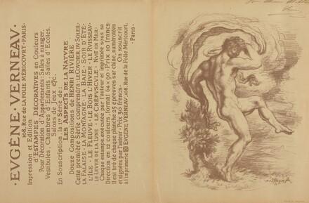 Dancing Nude and Advertisement for Eugène Verneau's Estampes décoratives [verso]