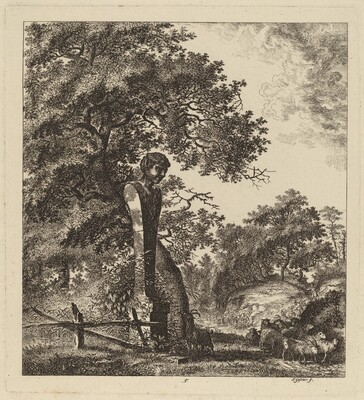 Wooded Landscape with a Herd of Goats and a Herm