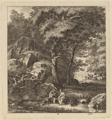 A Shepherd and a Young Woman With Their Feet in a Brook