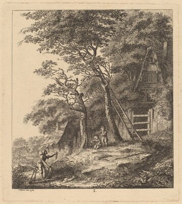 A Fisherman and Two Children in a Landscape with Thatched Cottages