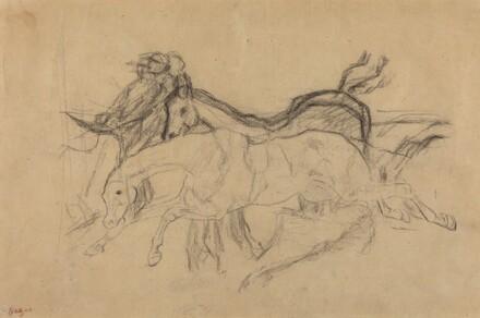 Racehorses (study for Scene from the Steeplechase: The Fallen Jockey)