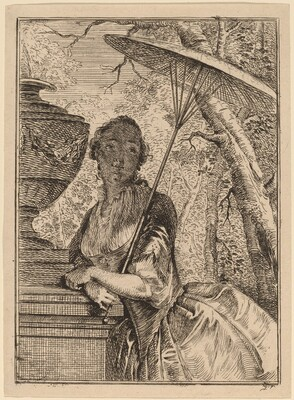 Young Woman Holding a Parasol