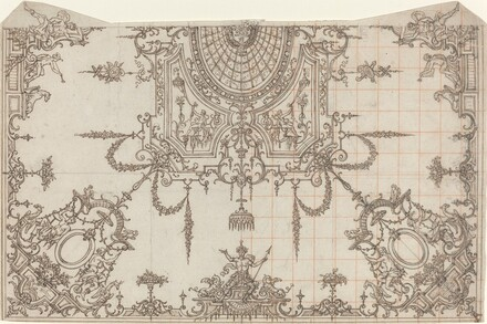 An Elaborate Ceiling with Trellises and Seated Figures