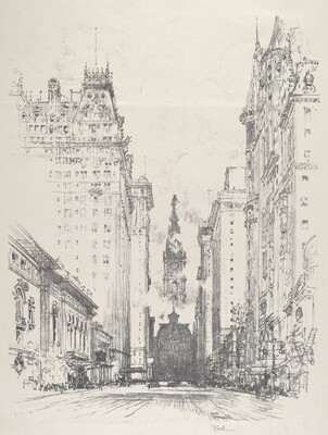Looking up Broad Street from Spruce Street