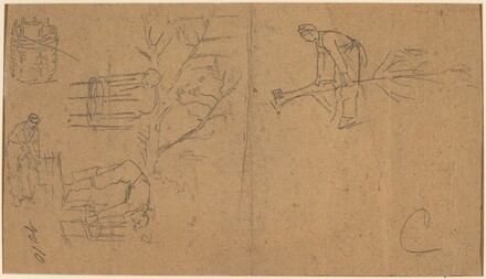 Soldiers felling sapling, and weaving saplings into baskets [verso]