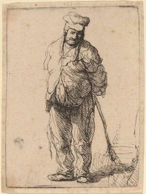 Ragged Peasant with His Hands behind Him, Holding a Stick