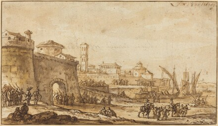 A Coastal Scene with a Fortified Town