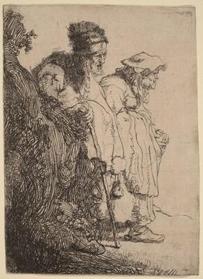 Beggar Man and Woman behind a Bank
