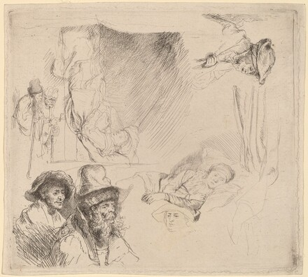 Sheet of Studies including a Woman Lying Ill in Bed