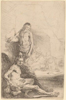 Nude Man Seated and Nude Man Standing,  with a Woman and Baby in the Background