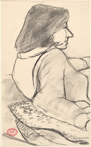 Untitled [study of woman facing right with her arm on a pillow]