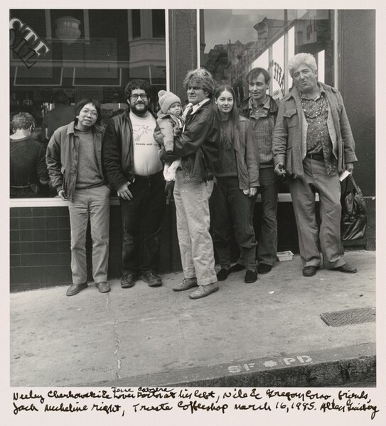 Neeli Cherkovski & Jesse Cabrera lover doctor at his left, Nile & Gregory Corso, friends, Jack Micheline right, Trieste Coffeeshop March 16, 1985.