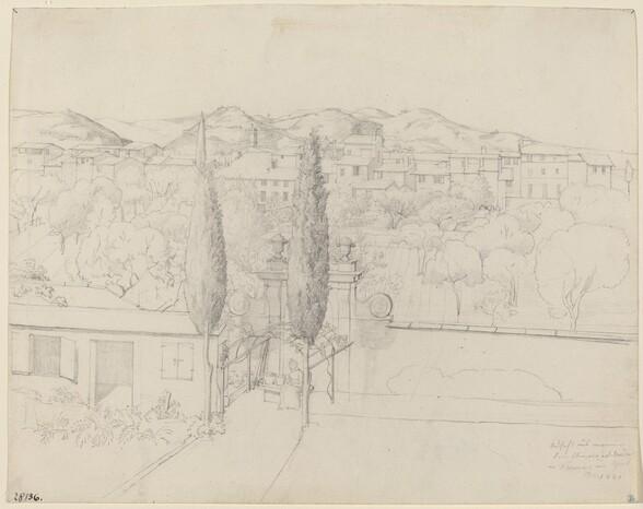 Aussicht aus meinem Fenster, via valfonda in Florenz (Gardens in Florence Seen from the Artist