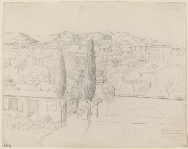 Aussicht aus meinem Fenster, via valfonda in Florenz (Gardens in Florence Seen from the Artist