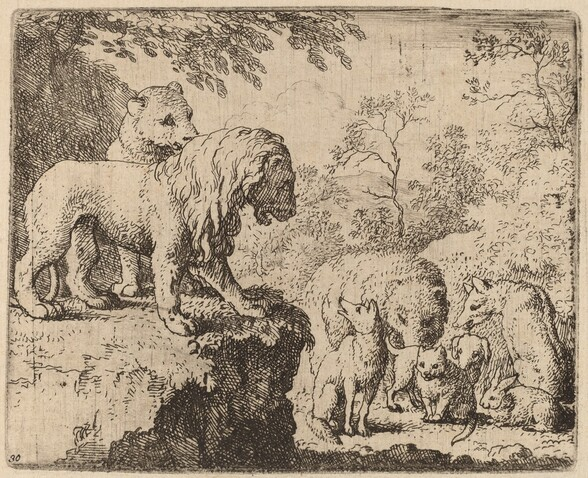 The Lion Pardons Reynard before the Other Animals