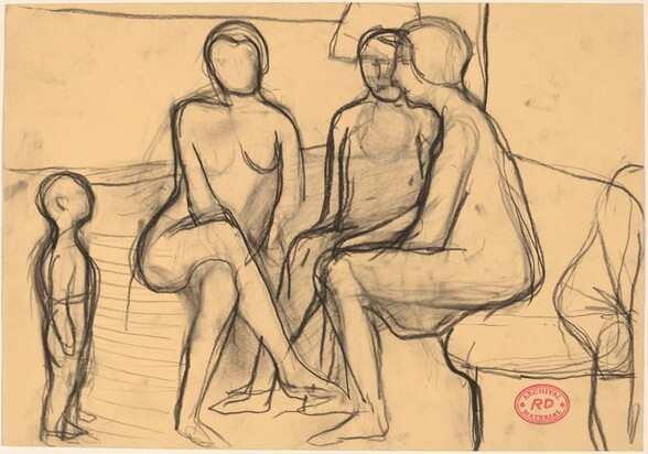 Untitled [study of seated figures and standing child]