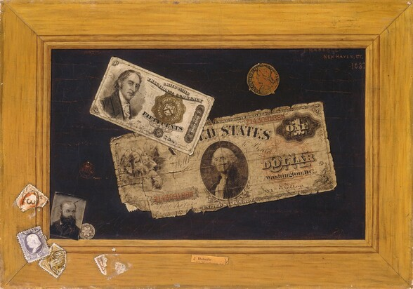 """Two pieces of paper money, two coins, and a small black and white photograph of a bearded man seem to be affixed to a dark background surrounded by a wooden frame, to which several stamps have been affixed in the lower left corner. A dollar bill with frayed edges is stuck to the black background across the center, and the lower left corner lifts up. The dollar bill has a portrait of George Washington in an oval at the center with """"UNITED STATES"""" above, the serial number """"Z143091888"""" in red to the left and repeated in the upper right corner, and """"ONE DOLLAR WASHINGTON DC"""" to the right. Overlapping the top left of the dollar bill, another bill about half the size is printed with a portrait of a cleanshaven, light-skinned man in a high-necked coat and frilled collar, angled to our right but looking at us over a long, hooked nose and wide lips. To our right, the bill reads, """"UNITED STATES FRACTIONAL CURRENCY,"""" and, below a seal, """"FIFTY CENTS."""" Above the dollar bill, a worn, copper-colored coin is held to the panel by three small prongs. It shows a person facing our left in profile. An inscription around the edge reads, """"AUCTORI CONNEC."""" A small photograph showing the head and shoulders of a bearded, balding man wearing glasses and a dark suit seems to have been tucked into the lower left corner between the dark background and the wood frame. Slightly behind the photograph, a silver coin resting on the ledge of the frame has a six-pointed star with a striped crest at the center, and is inscribed around the edge, """"UNITED STATES OF AMERICA 1853."""" Above the photograph is a dark circular stamp stuck with a pin. Attached to the bottom left corner of the wood frame are several different colored, cancelled stamps, some of them torn. In the bottom center, a piece of paper with the typed words """"J. Haberle"""" seems to have been pasted onto the frame. The painting is inscribed in the upper right with red against the black field: """"J. HABERLE NEW HAVEN, CT. 1887."""" Upon closer inspectio"""