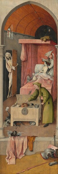 A naked man with ghostly white skin sits upright in a canopied bed set in a narrow room in this tall, vertical painting. Wearing a black cap, he looks to our left in profile towards a skeleton who comes through a door along the left edge of the painting. The man gestures towards the skeleton with one hand and, with the other, towards a bag of money held up by a small demon next to the bed to our left. The skeleton wears a white shroud and holds an arrow. A winged angel kneels next to the man in the bed, one hand on the man's shoulder and the other gesturing up towards a crucifix hanging in the window over the door. A small devil on the canopy above looks down onto the bed. At the foot of the bed, a man wearing a green robe and headdress drops coins into a sack held by another demon. Three more demons crawl about and hide under the chest. Pieces of armor and weapons lie on the ground to the right in front of a stone ledge in the foreground. Two pieces of clothing drape over the ledge to our left.